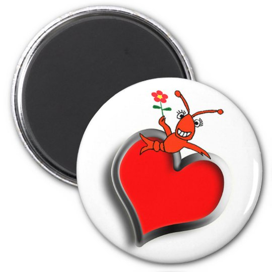 Cute Crawfish / Lobster Heart 6 Cm Round Magnet