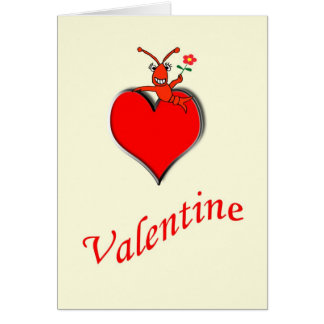 Cute Crawfish Lobster Heart Valentine Cards