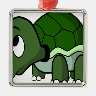 Cute Crawling Turtle Silver-Colored Square Decoration