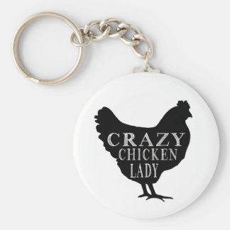 Cute Crazy Chicken Lady Basic Round Button Key Ring