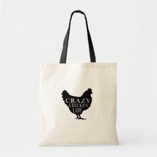 Cute Crazy Chicken Lady Budget Tote Bag