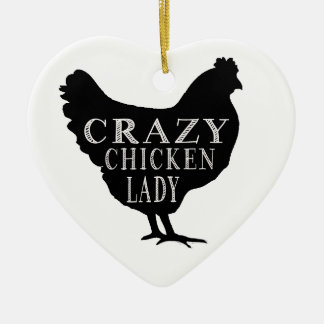 Cute Crazy Chicken Lady Ceramic Heart Decoration