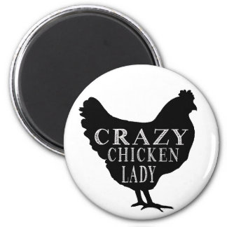 Cute Crazy Chicken Lady Magnet