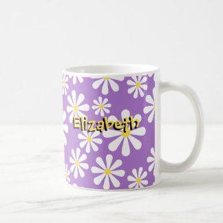 Cute Crazy Daisy Personalized Purple Yellow Coffee Mug