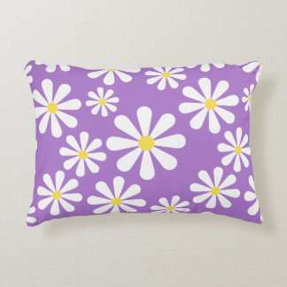 Cute Crazy Daisy Purple White Yellow Flowers Accent Cushion