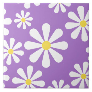 Cute Crazy Daisy Purple White Yellow Flowers Large Square Tile