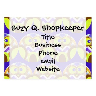 Cute Crazy Owl Colorful Chevron Blue Yellow Brown Pack Of Chubby Business Cards
