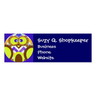 Cute Crazy Owl Colorful Chevron Blue Yellow Brown Pack Of Skinny Business Cards