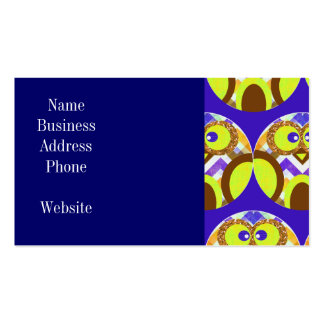 Cute Crazy Owl Colorful Chevron Blue Yellow Brown Pack Of Standard Business Cards