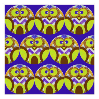 Cute Crazy Owl Colorful Chevron Blue Yellow Brown Posters