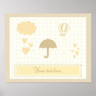 Cute Cream Beige Baby Shower Poster
