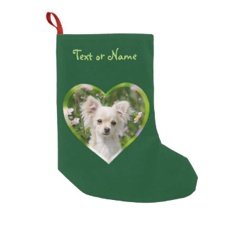 Cute cream Chihuahua Dog Puppy Pet Heart - Name Small Christmas Stocking
