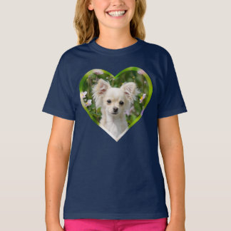 Cute cream Chihuahua Dog Puppy Pet Photo Heart T-Shirt