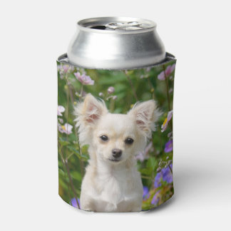 Cute cream Chihuahua Dog Puppy Photo  Funny Bawdle Can Cooler