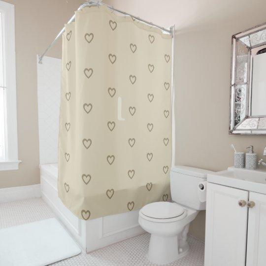 Cute Cream Gold Beige Hearts Monogram Pattern Shower