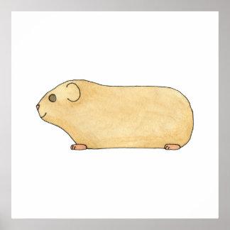 Cute Cream Guinea Pig Print