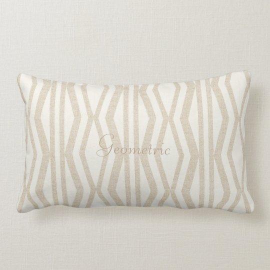 Cute Cream Linen Geometric Pattern Pillow