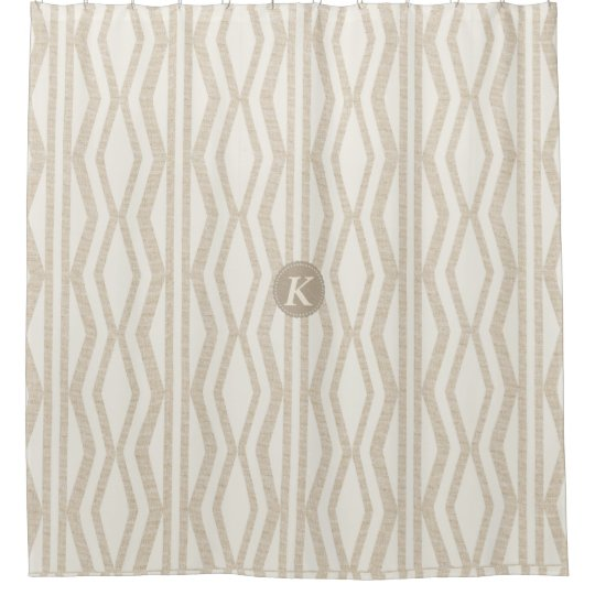 Cute Cream Linen Monogrammed Geometric Pattern Shower Curtain