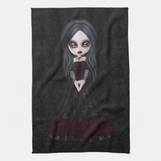 Cute & Creepy Goth Girl Black Kitchen Towel