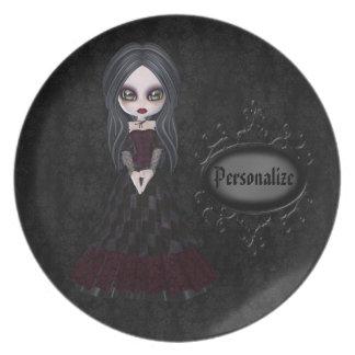 Cute & Creepy Goth Girl Personalized Black Plate