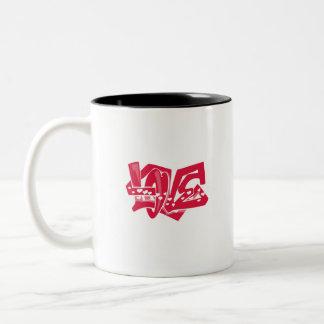 Cute Crimson Red Love Graffiti Two-Tone Mug