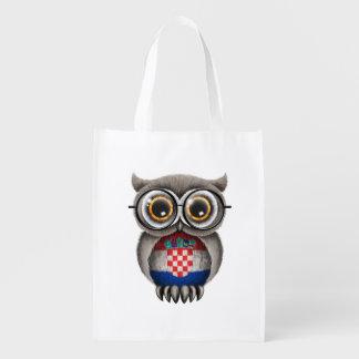Cute Croatian Flag Owl Wearing Glasses Reusable Grocery Bag