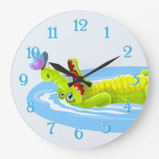 Cute crocodile and butterfly cartoon wall clock