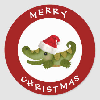 Cute Crocodile in Santa Hat Red Christmas Stickers
