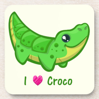 Cute crocodile love kawaii cartoon coaster