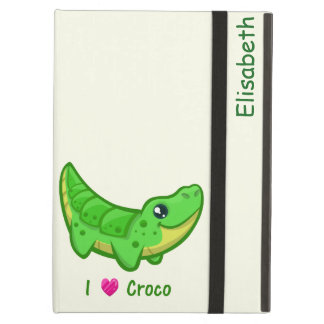Cute crocodile love kawaii cartoon kids iPad air case