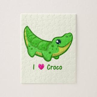 Cute crocodile love kawaii cartoon kids jigsaw puzzle