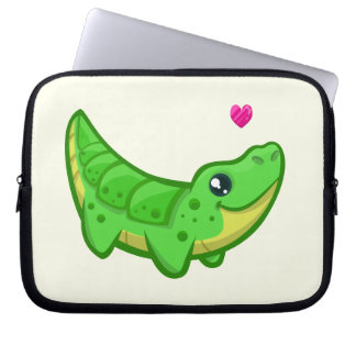Cute crocodile love kawaii cartoon kids laptop sleeve