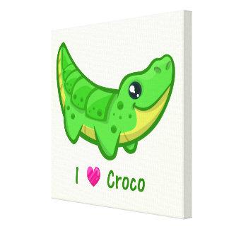 Cute crocodile love kawaii cartoon nursery canvas print