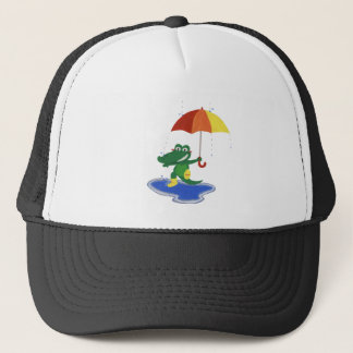 Cute crocodile under the rain trucker hat