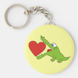 Cute Crocodile with a Heart Keychain