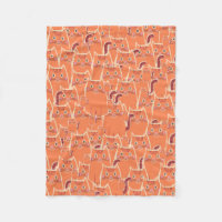 Orange Cats Fleece Blanket