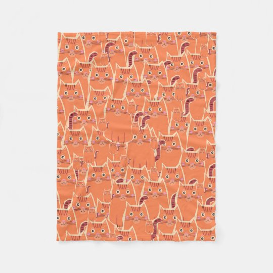 Cute Crowd of Orange Cats Fleece Blanket