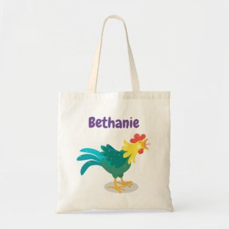 Cute crowing rooster cartoon illustration tote bag