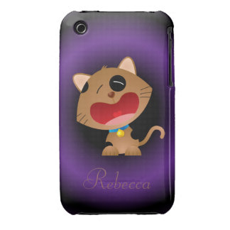 Cute Crying Cartoon Kitten Personalized iPhone 3 Cover