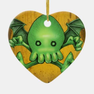 Cute Cthulhu Chibi Kneel Before Me Ceramic Heart Decoration