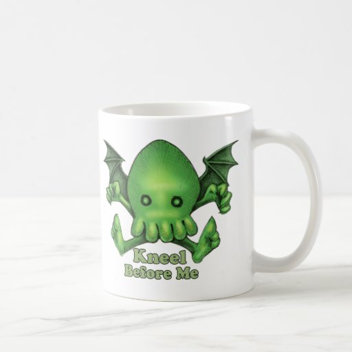 Cute Cthulhu Chibi Kneel Before Me Coffee Mug