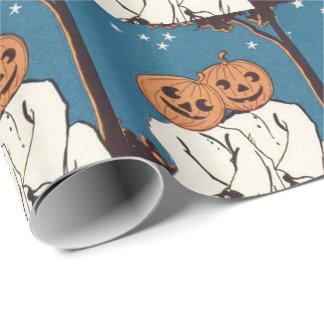 Cute Cuddle Pumpkin Jack O' Lantern Ghost Wrapping Paper