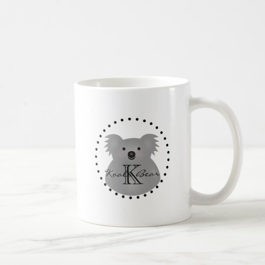 Cute Cuddly Australia Baby Koala Bear Monogram Coffee