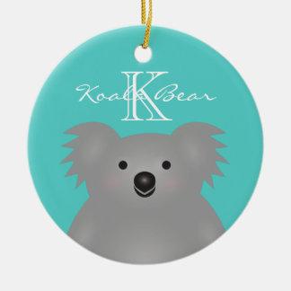 Cute Cuddly Australia Baby Koala Bear Monogram Round Ceramic Decoration