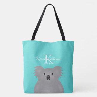 Cute Cuddly Australia Baby Koala Bear Monogram Tote Bag