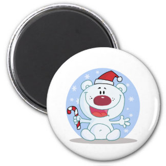 Cute cuddly bear christmas holiday design 6 cm round magnet