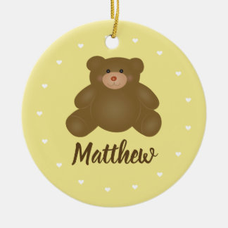 Cute Cuddly Brown Baby Grizzly Teddy Bear Monogram Christmas Ornament