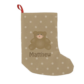 Cute Cuddly Brown Baby Teddy Bear And Polka Dots