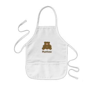 Cute Cuddly Brown Baby Teddy Bear And Polka Dots Kids Apron