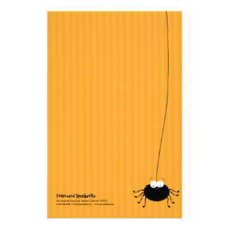 Cute Cuddly Cartoon Spider Halloween Stationery
